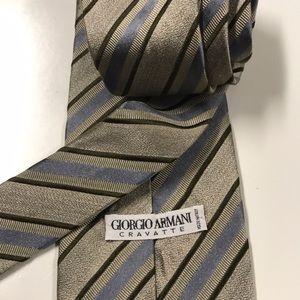 GIORGIO ARMANI Cravatte Blue Tan Tie 🇮🇹